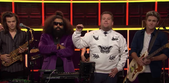 James Corden famously wore the Harry Styles tattoo hoodie in 2015