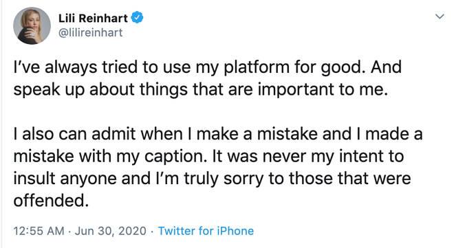 Lili Reinhart apologises for 'insensitive' Instagram photo