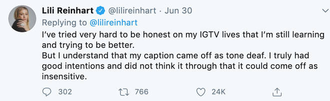 Riverdale's Lili Reinhart apologises for posting nude shot whilst discussing death of Breonna Taylor