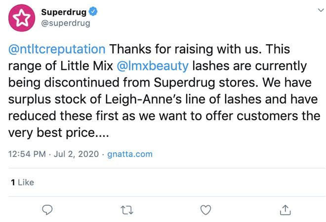 Superdrug responded to questions regarding Leigh-Anne Pinnock's false eyelashes