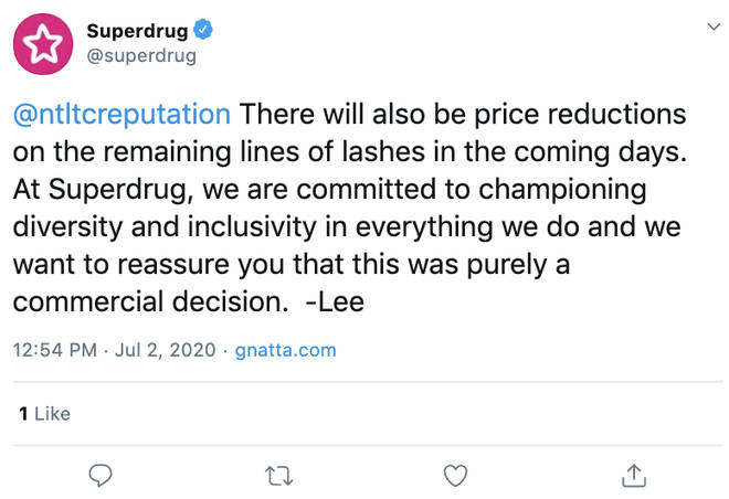 It was explained that lash lines will be undergoing price reductions