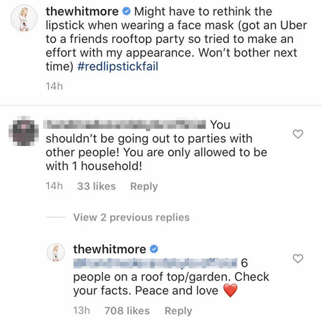 Laura Whitmore replied to the fan accusing her of flouting social distancing guidelines