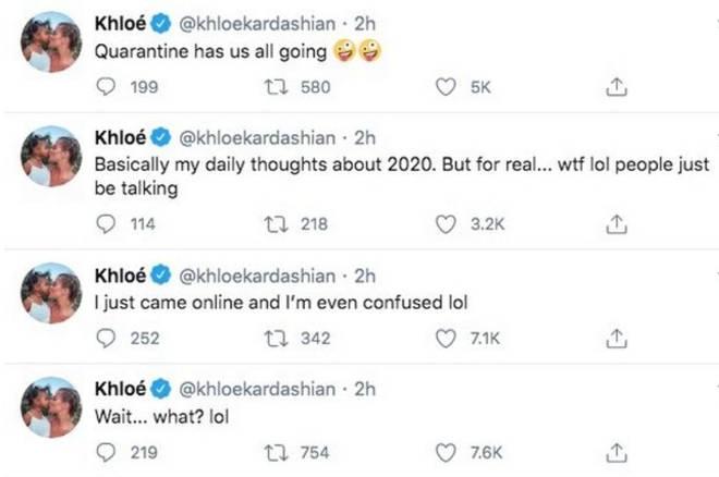 Khloe Kardashian reacted to engagement rumours on Twitter