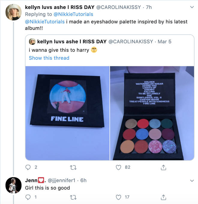 Harry Styles' fan shared pictures of her eyeshadow palette