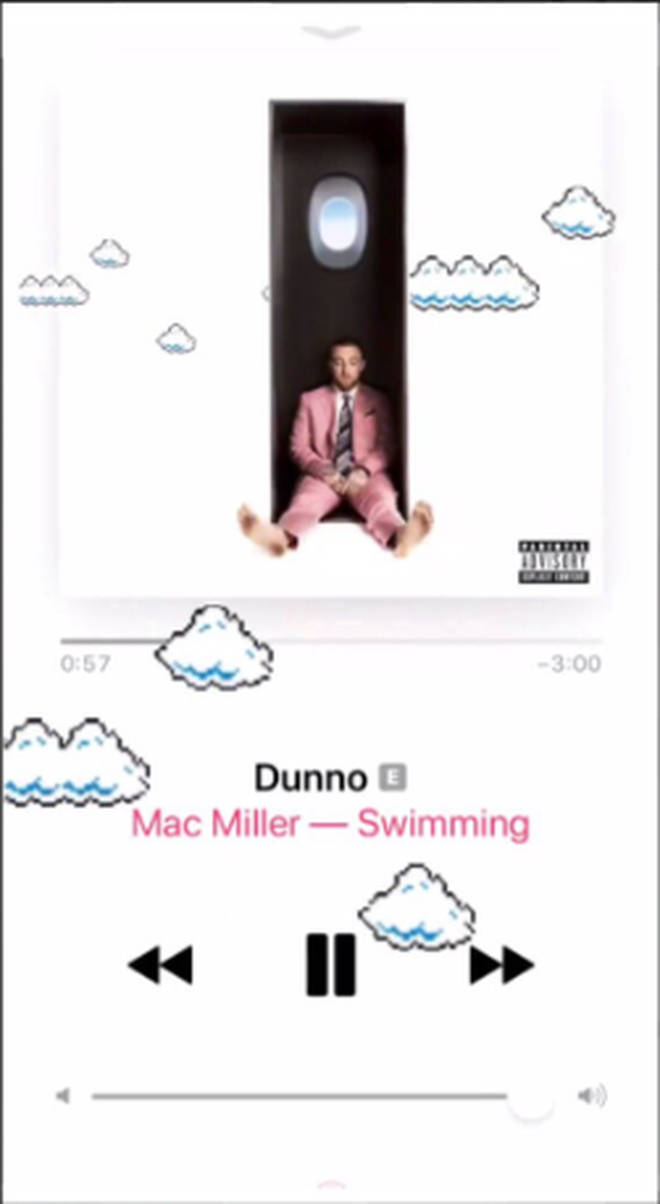 Ariana Grande shared screenshots of the Mac Miller songs she was listening to.