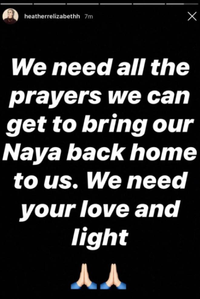 Naya Rivera's Glee co-star Heather Morris prays for her safe return