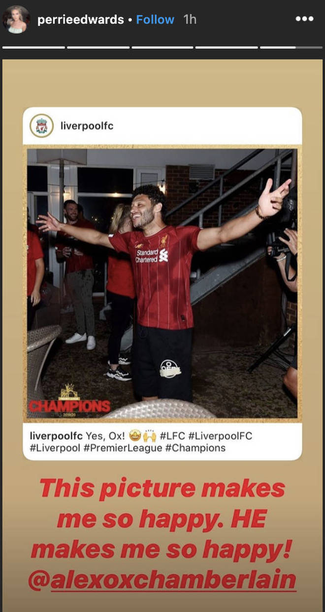 Perrie Edwards celebrated the Liverpool win