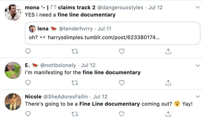 Harry Styles fans are hoping for a Fine Line documentary