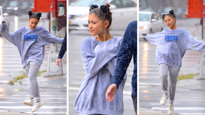Ariana Grande stepped out in New York in the rain.