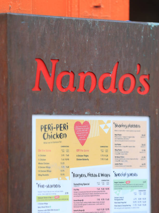 Some items on the Nando's menu have been reduced due to the VAT cut