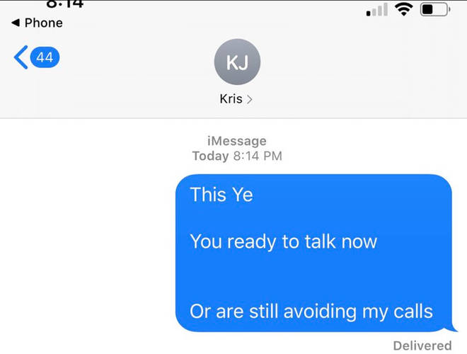 Kanye also posted a screenshot of a text seemingly to Kris Jenner