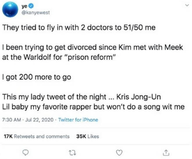 Kanye West tweeted and deleted claims about his marriage