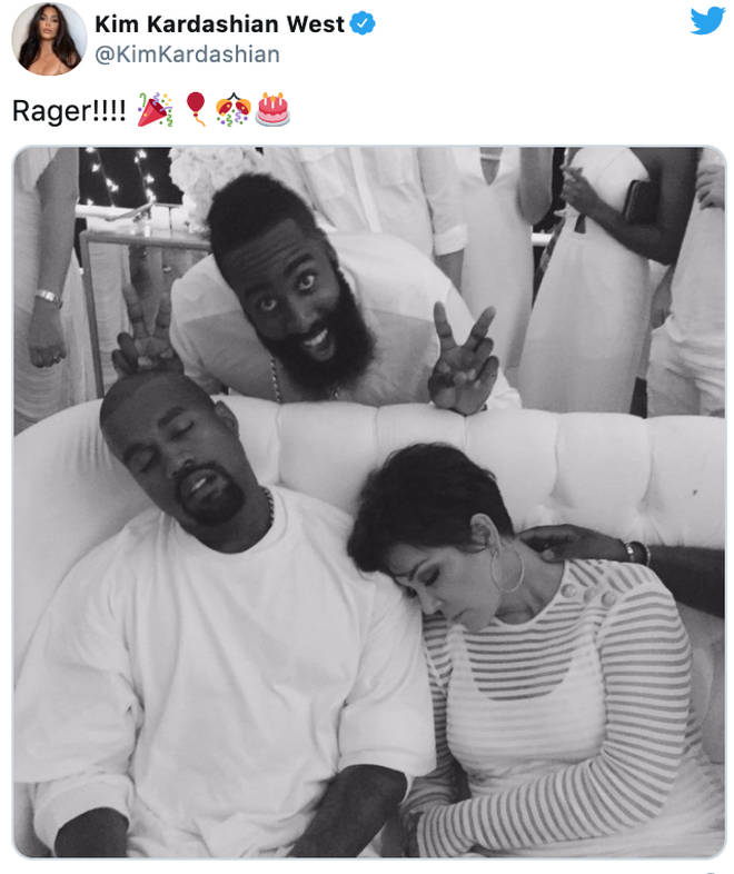 Kanye and Kris Jenner asleep on each other at a party in 2015