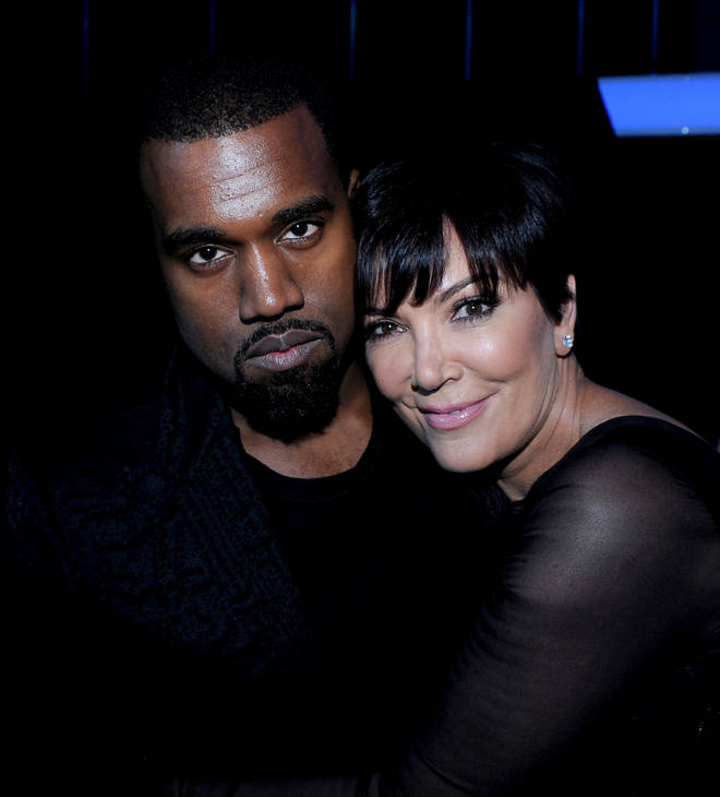 Kris Jenner and Kanye West on the set of The X Factor USA in 2012