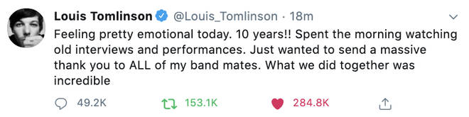 Louis Tomlinson described the 1D anniversary as 'emotional'