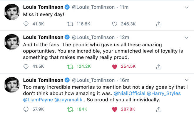 Louis Tomlinson showed love to One Direction fans in his post