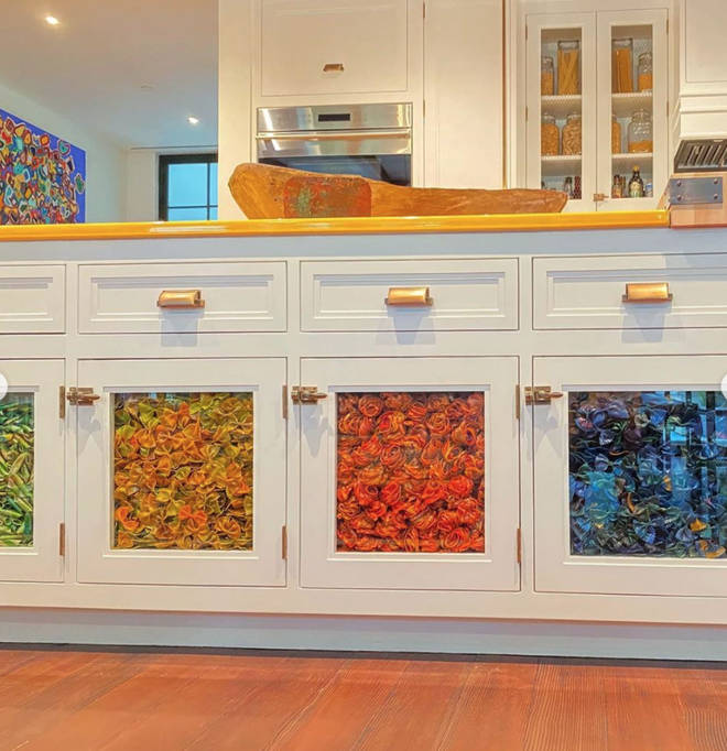Gigi Hadid's kitchen cupboards are decorated with pasta-filled panels