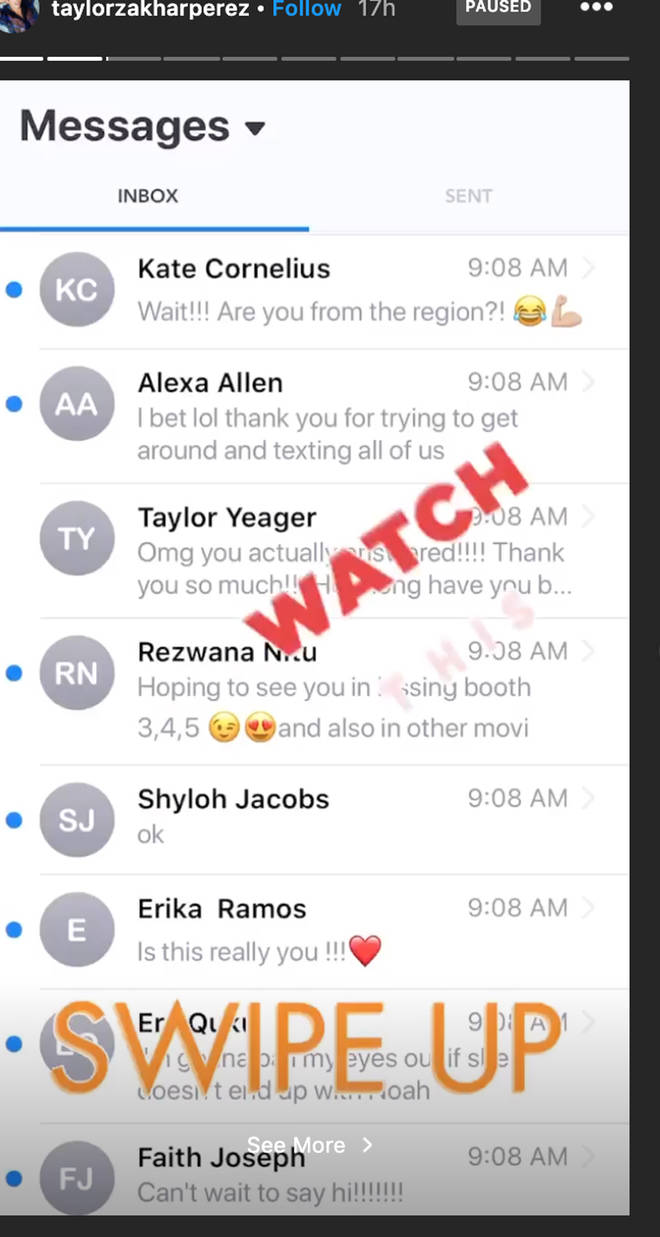 Taylor Zakhar-Perez shared a screenshot of the texts from fans
