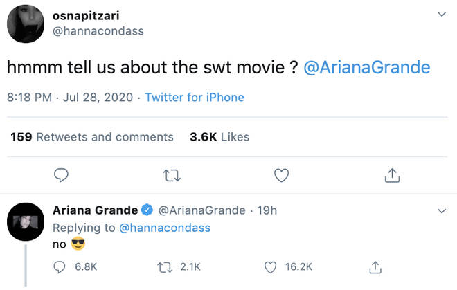Ariana Grande hinted at a forthcoming movie following her Sweetener World Tour