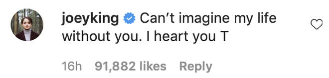 Joey King commented on Taylor's sweet message