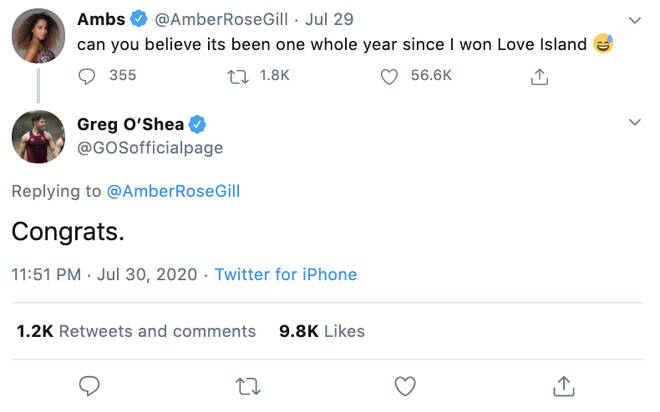 Greg O'Shea gave a savage response to Amber Gill
