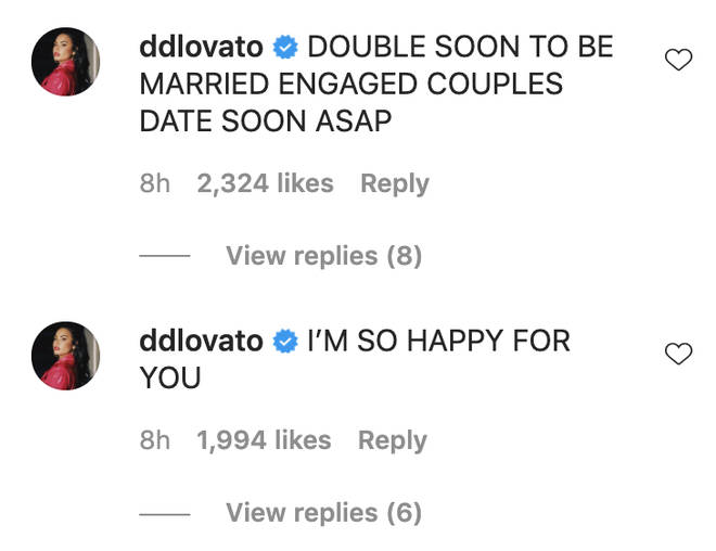 Demi Lovato rushed to congratulate the couple on their engagement.