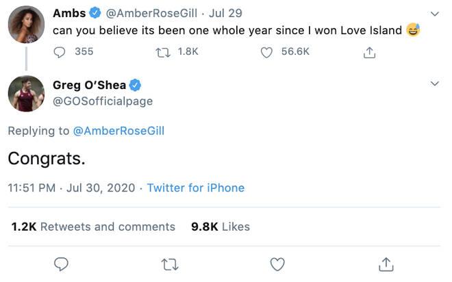 Greg O'Shea threw shade at his Love Island ex Amber Gill