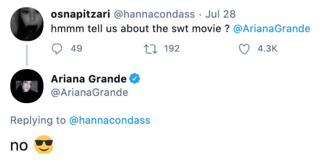 Ariana Grande teases a fan about the Sweetener tour documentary on Twitter