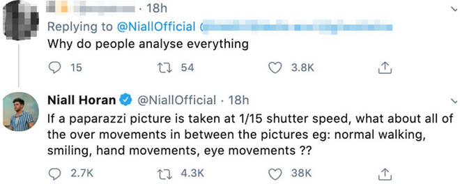 Niall asked fans to consider 'all the other movements in between' the paparazzi pictures