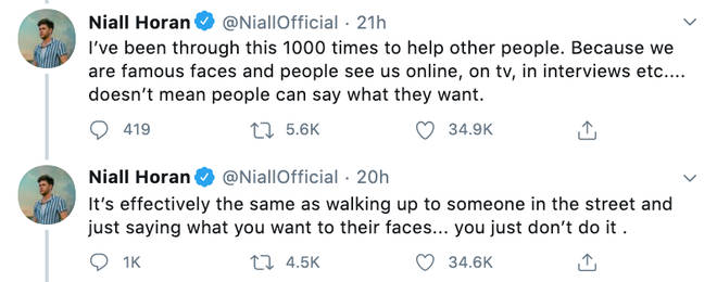Niall Horan slams people writing whatever they want to celebs online