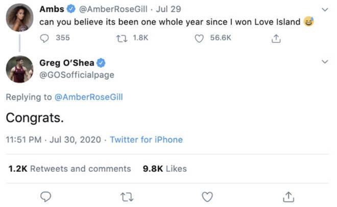 Amber Gill's fans called Greg O'Shea out for his savage response