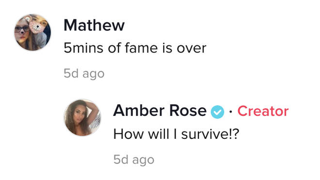 Amber Gill responded sarcastically to the troll