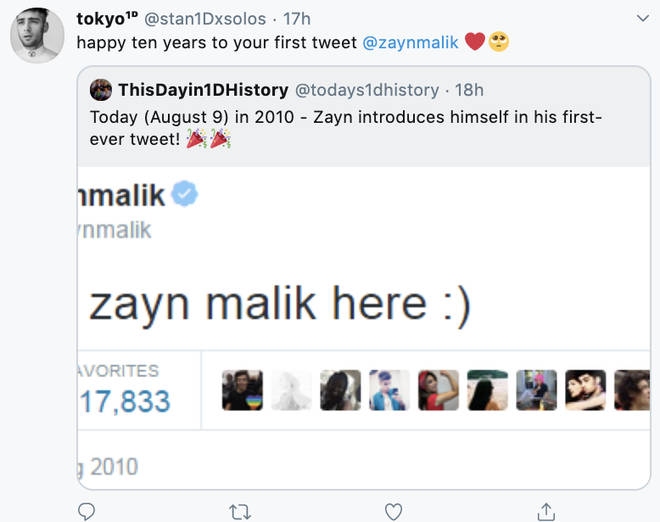 Fans were reminiscing about Zayn's first post on Twitter