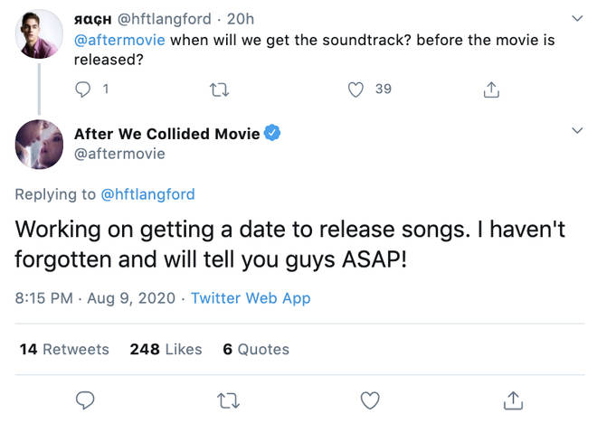 Fans are excited for an After We Collided soundtrack