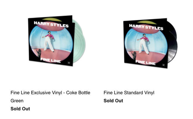 Harry Styles' limited edition vinyls are sold out