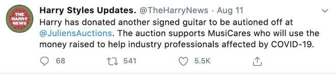 The Harry Styles fan account claimed the 1D star will be auctioning off a guitar