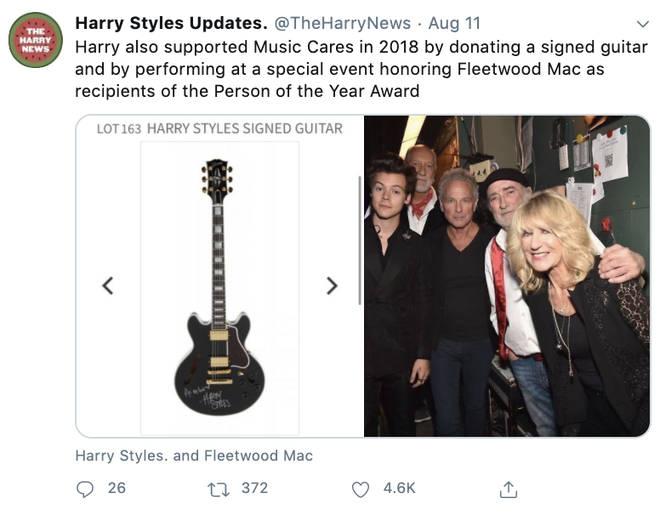 Harry Styles has previously donated to the music organisation