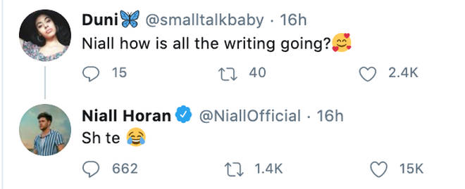 Niall Horan tells a fan his songwriting is going 'sh*te'