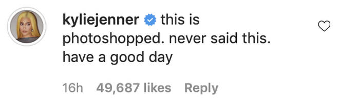 Kylie Jenner shut down the comments about her Instagram caption