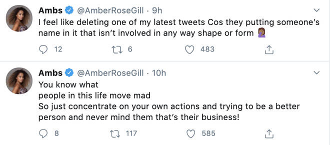 Amber Gill shut down fans' replies mentioning well-known stars