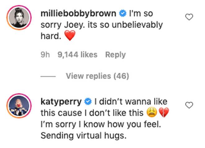 Celebs sent kind messages to Joey King