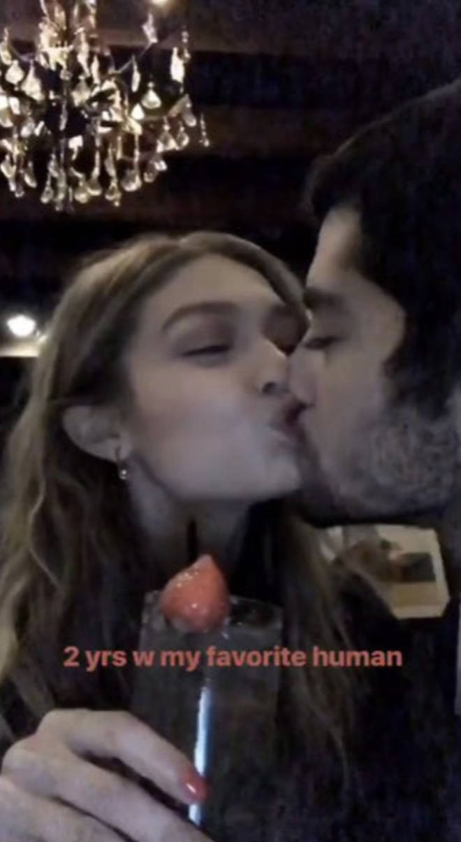 Gigi and Zayn celebrating their two-year anniversary back in 2018
