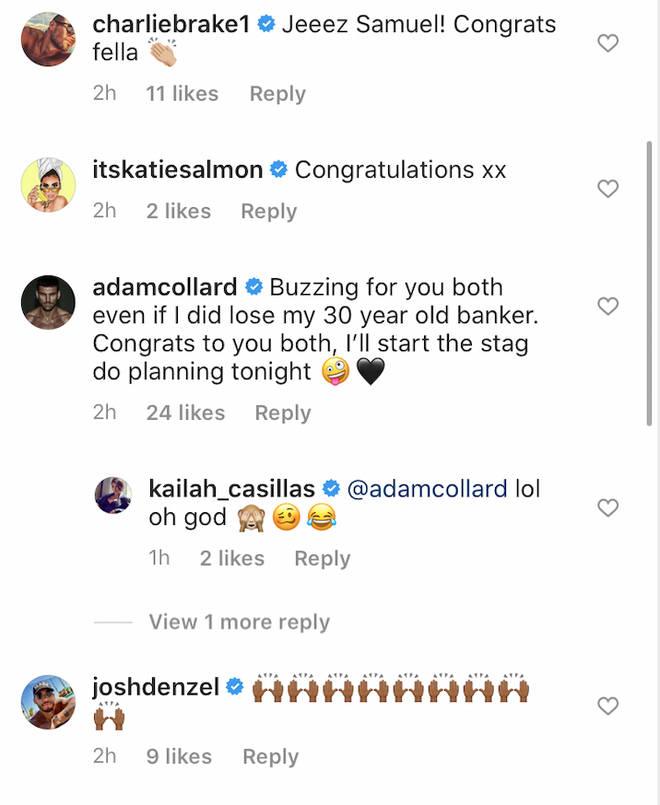 'Love Island' stars rush to congratulate Sam Bird on engagement