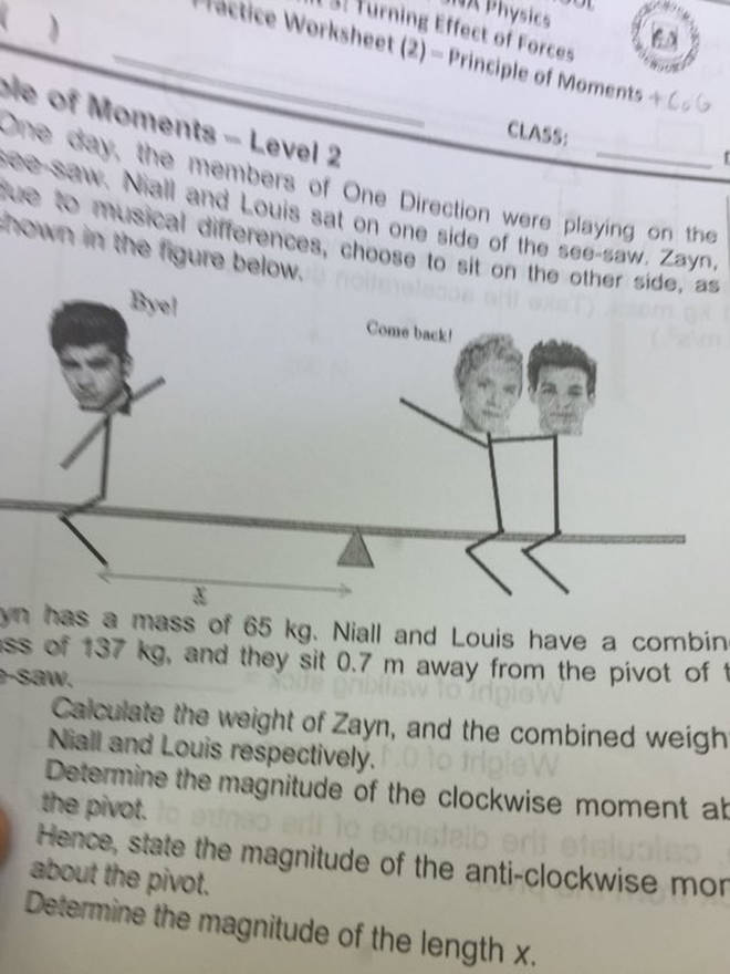 One Direction were used in one student's Physics exam paper