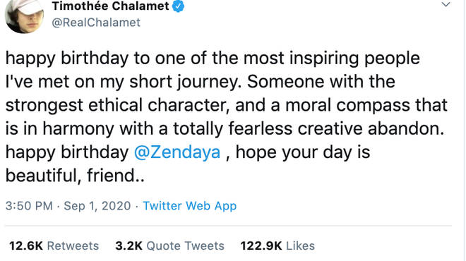 Timothée Chalamet had a cute message for co-star Zendaya