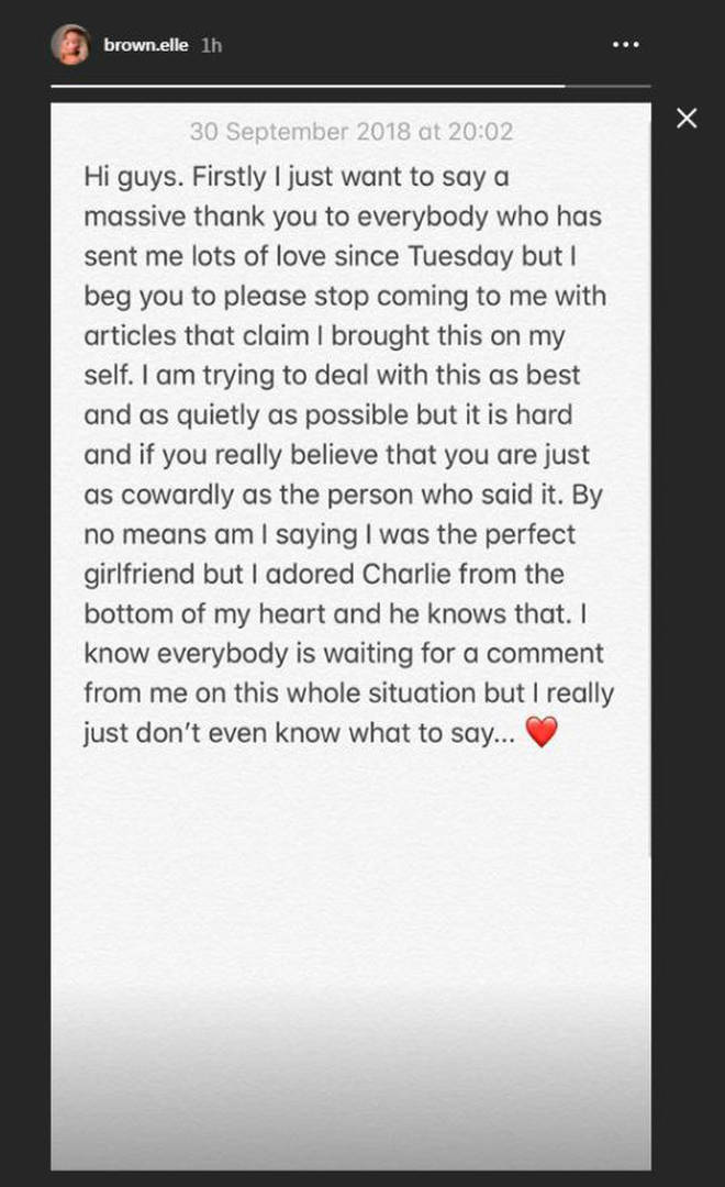 Ellie Brown broke her silence on her split with fellow Love Island star Charlie Brake