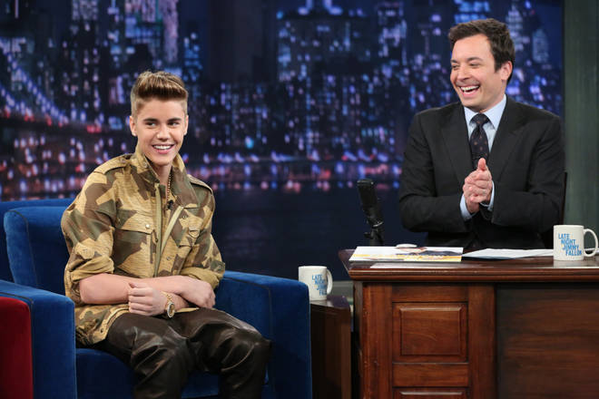 Justin Bieber appearing on Late Night with Jimmy Fallon in 2013