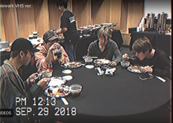 BTS boys eating together before a show in Newark, New Jersey
