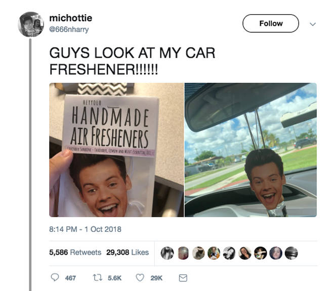 This Harry Styles car air freshener comes in a variety of fragrances and has gone viral online/@666nharry