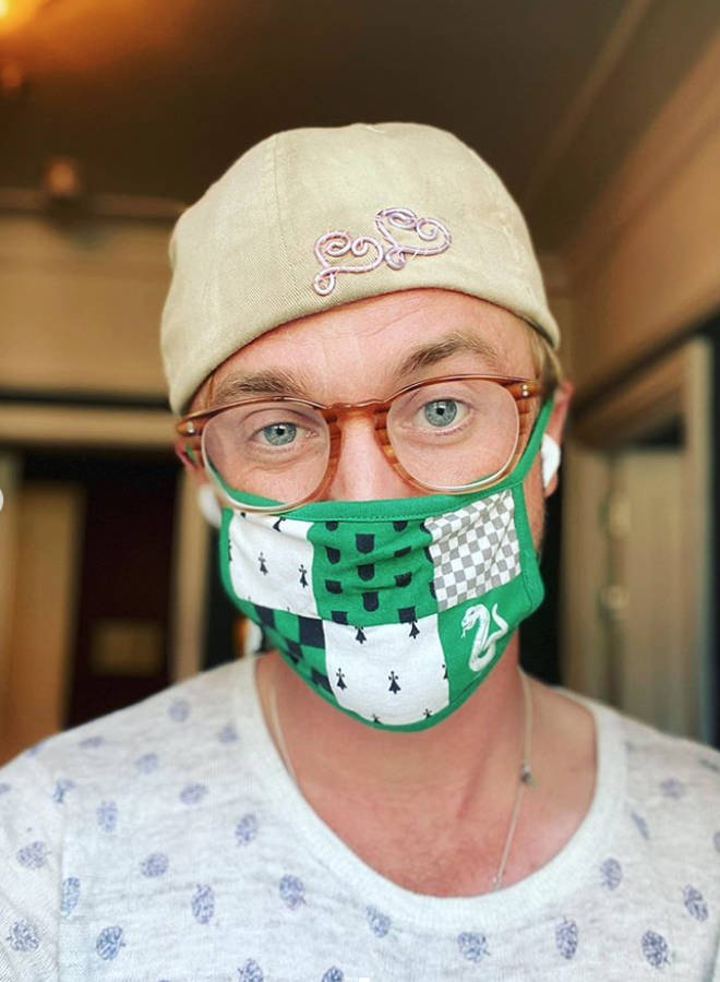 Tom Felton is giving away a Slytherin face covering